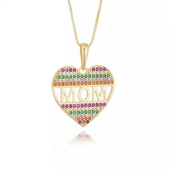 Colar Coração MOM Cravação Rainbow Banhado em Ouro