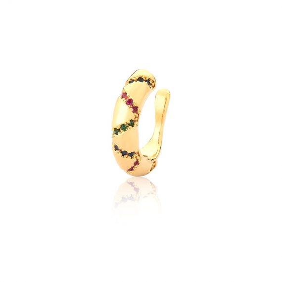 Piercing Liso com Pontos Coloridos Banhado em Ouro